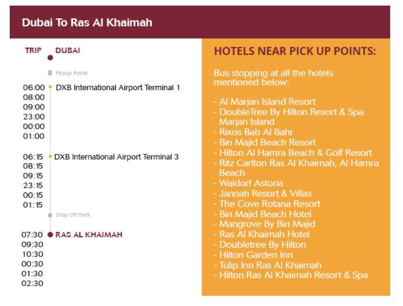 RAK free Shuttle bus timings between Dubai and RAs Al Khaimah