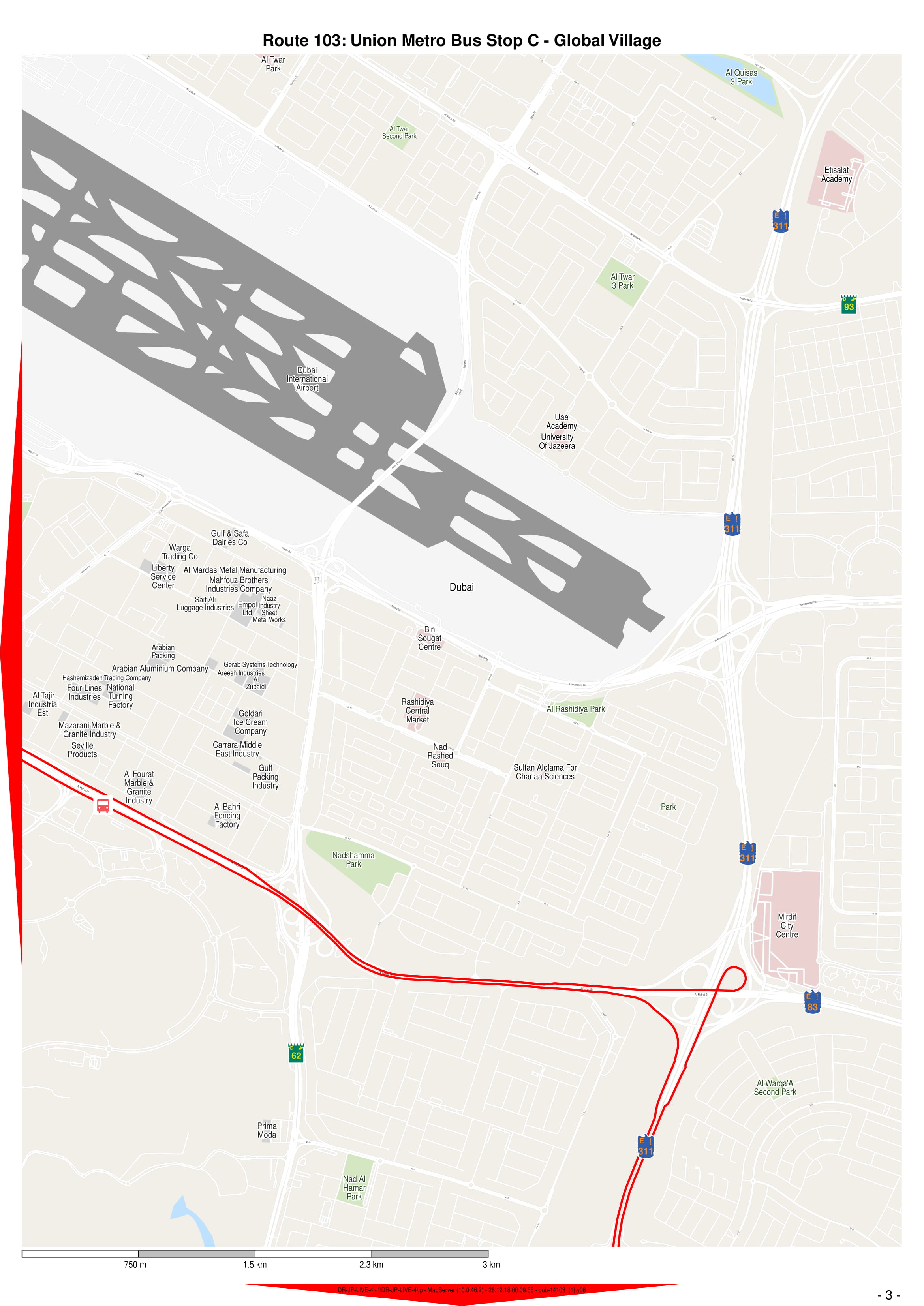 103 Bus Route In Dubai Time Schedule Stops And Maps