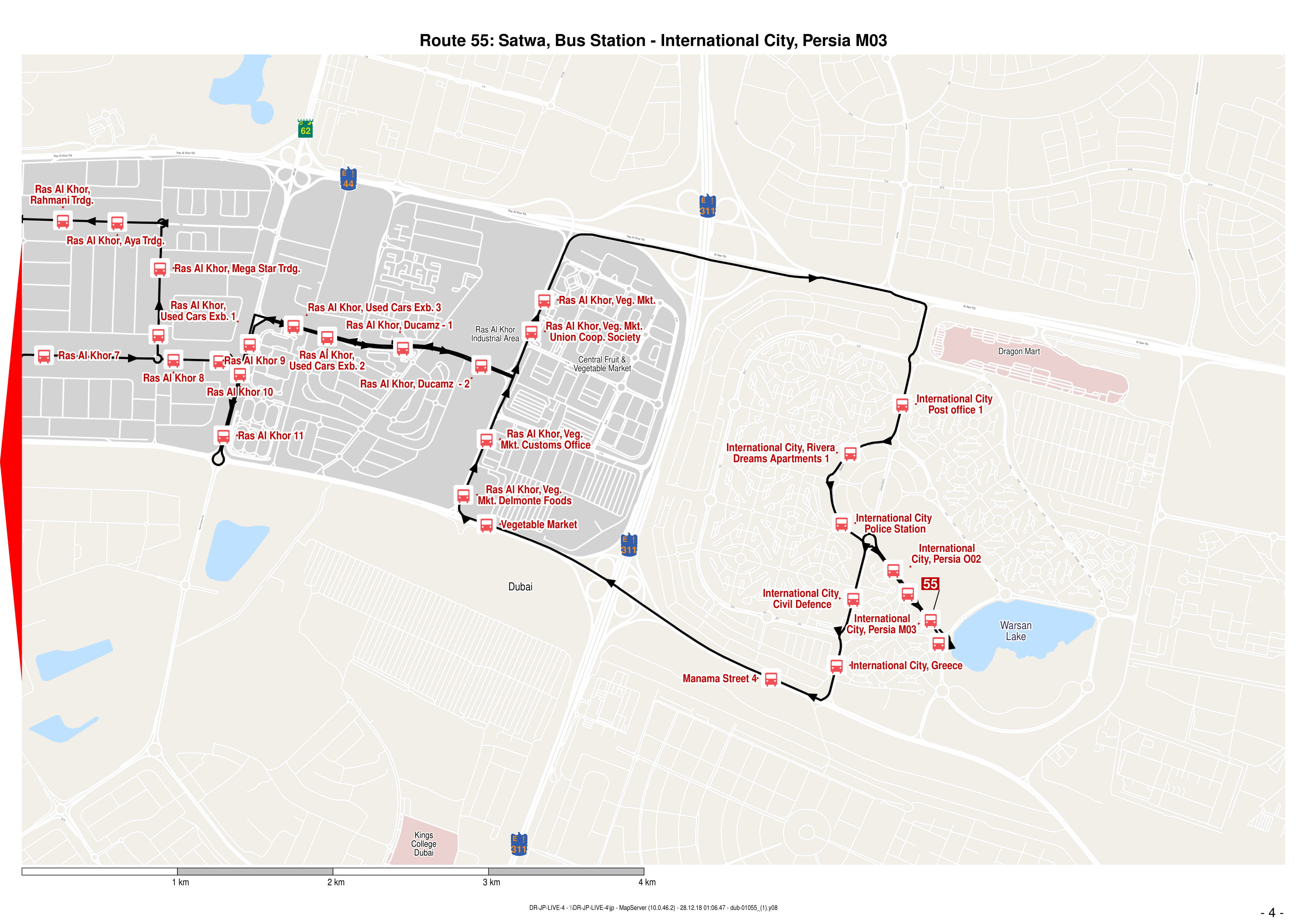 55 Bus Route In Dubai Time Schedule Stops And Maps