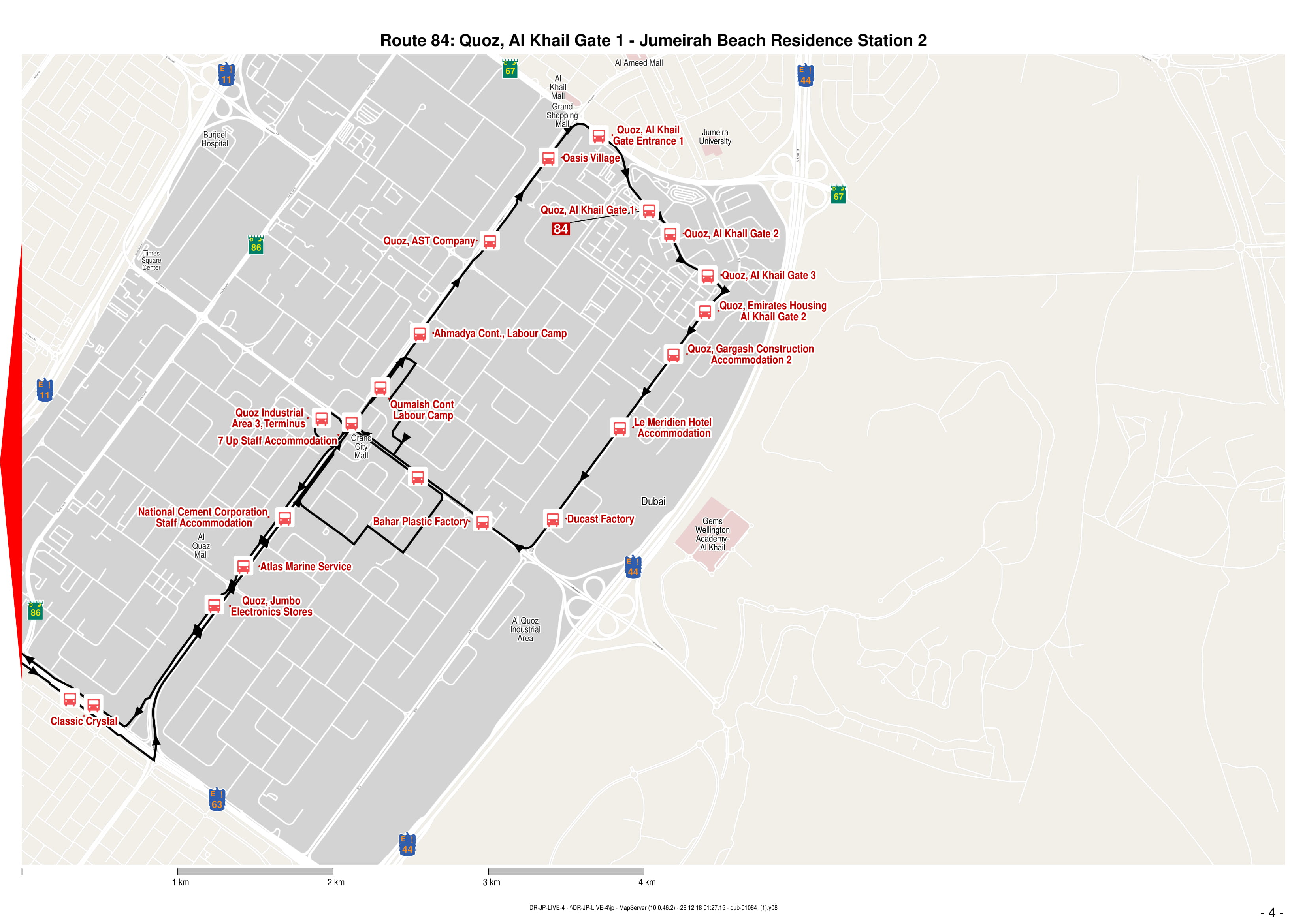 84 Bus Route in Dubai - Time Schedule, Stops and Maps - Your
