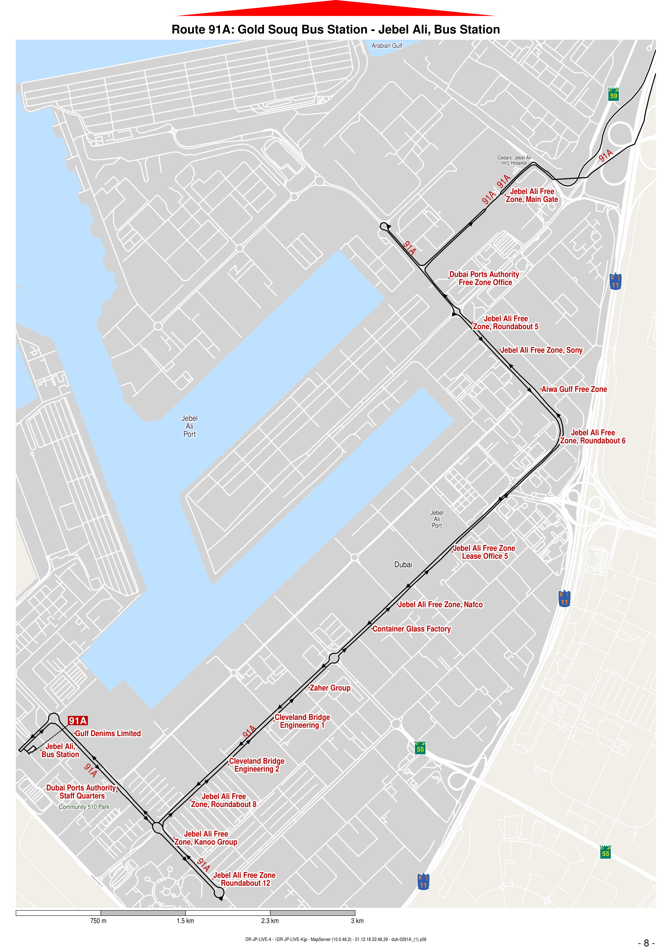 91a Bus Route In Dubai Time Schedule Stops And Maps