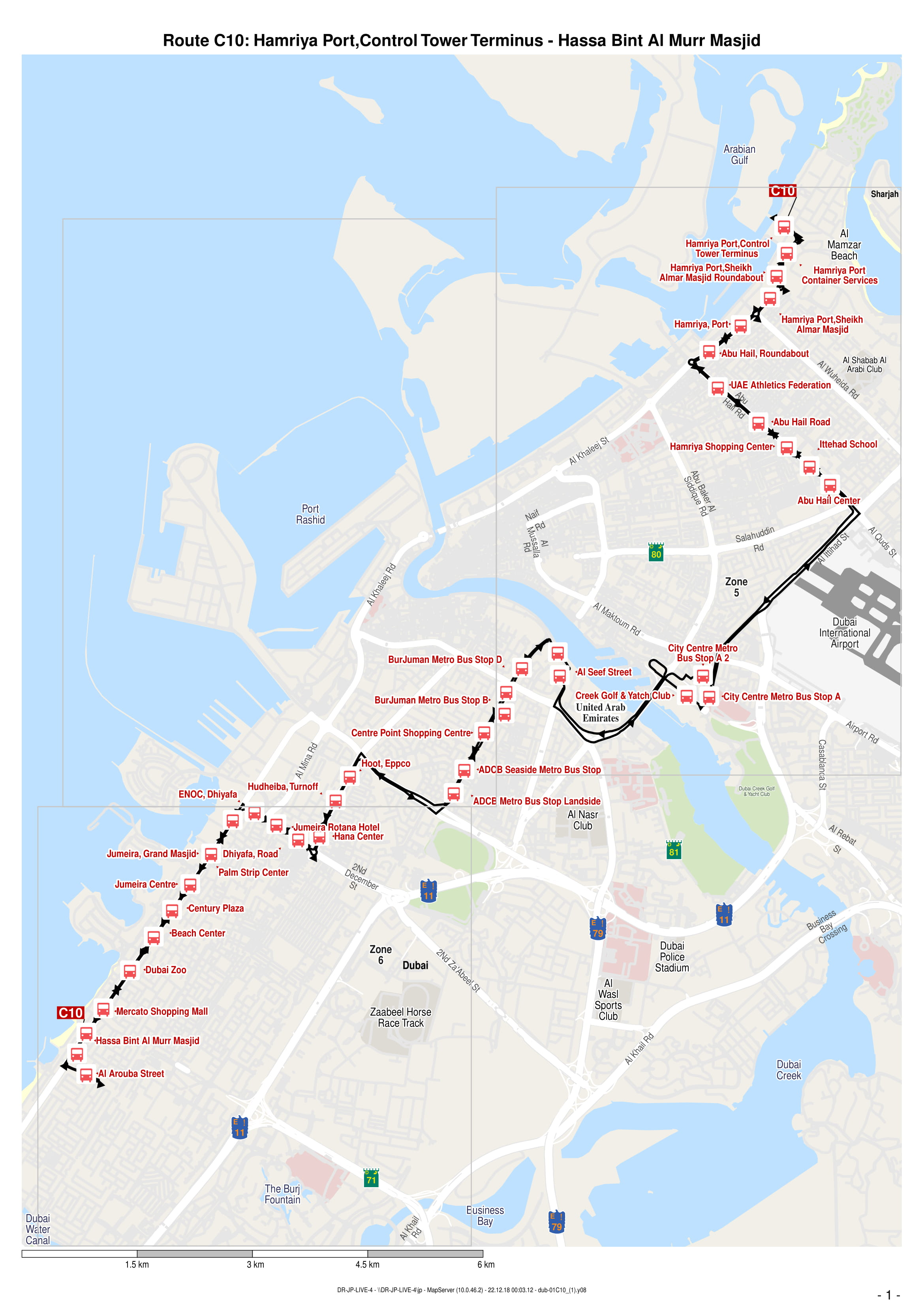 c10 bus route in dubai - time schedule, stops and maps