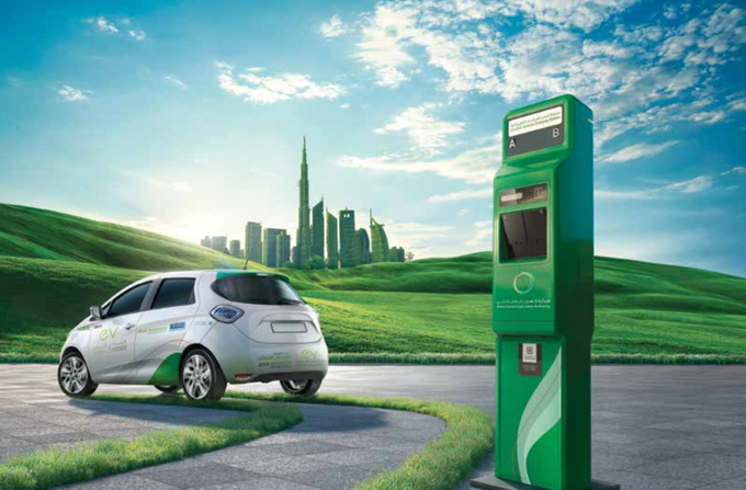 DEWA Electric Car (EV) Charging Station in Multi Storey Parking RTA Al Riqqa Car Park, Dubai
