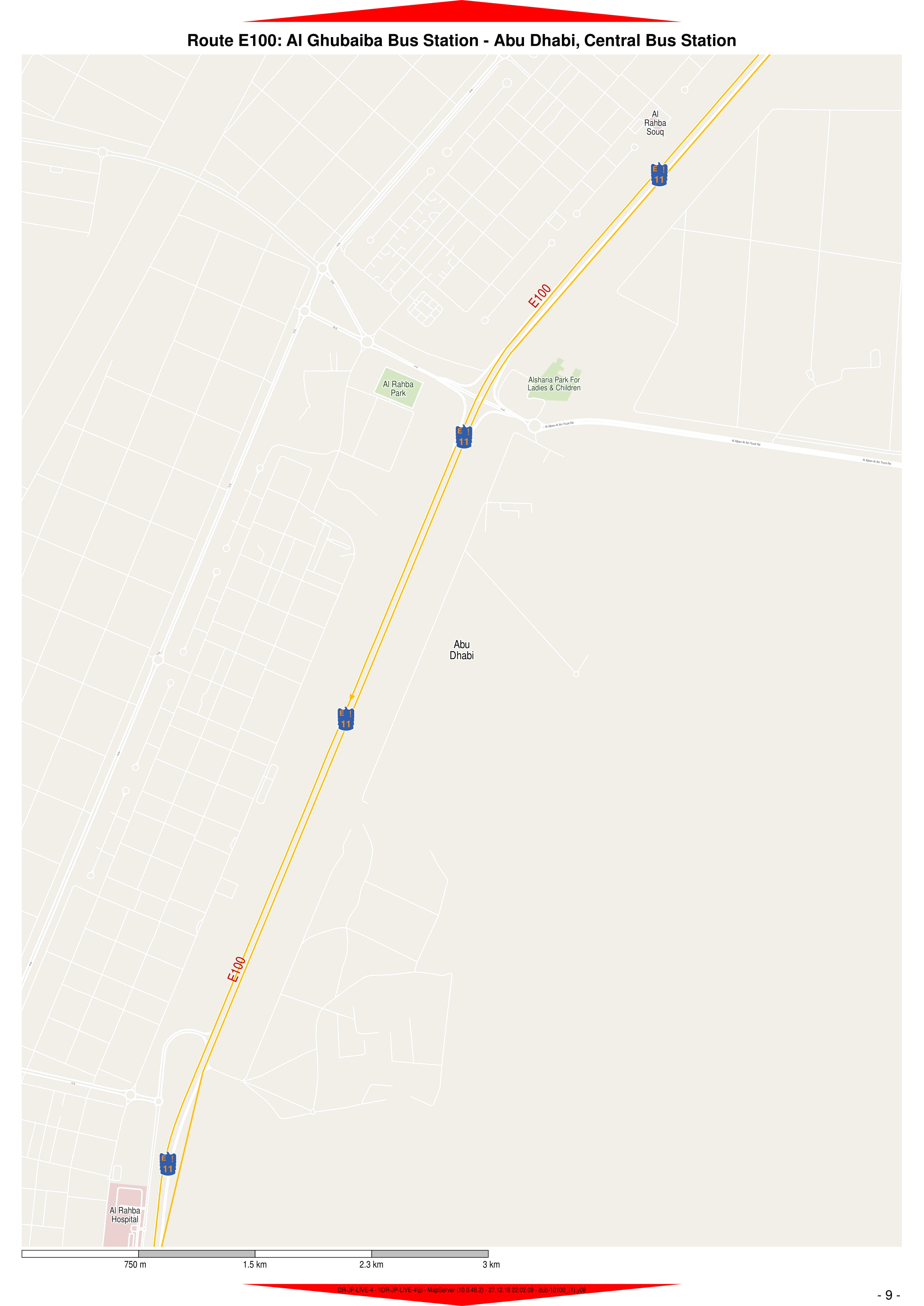 E100 Bus Route in Dubai - Time Schedule, Stops and Maps