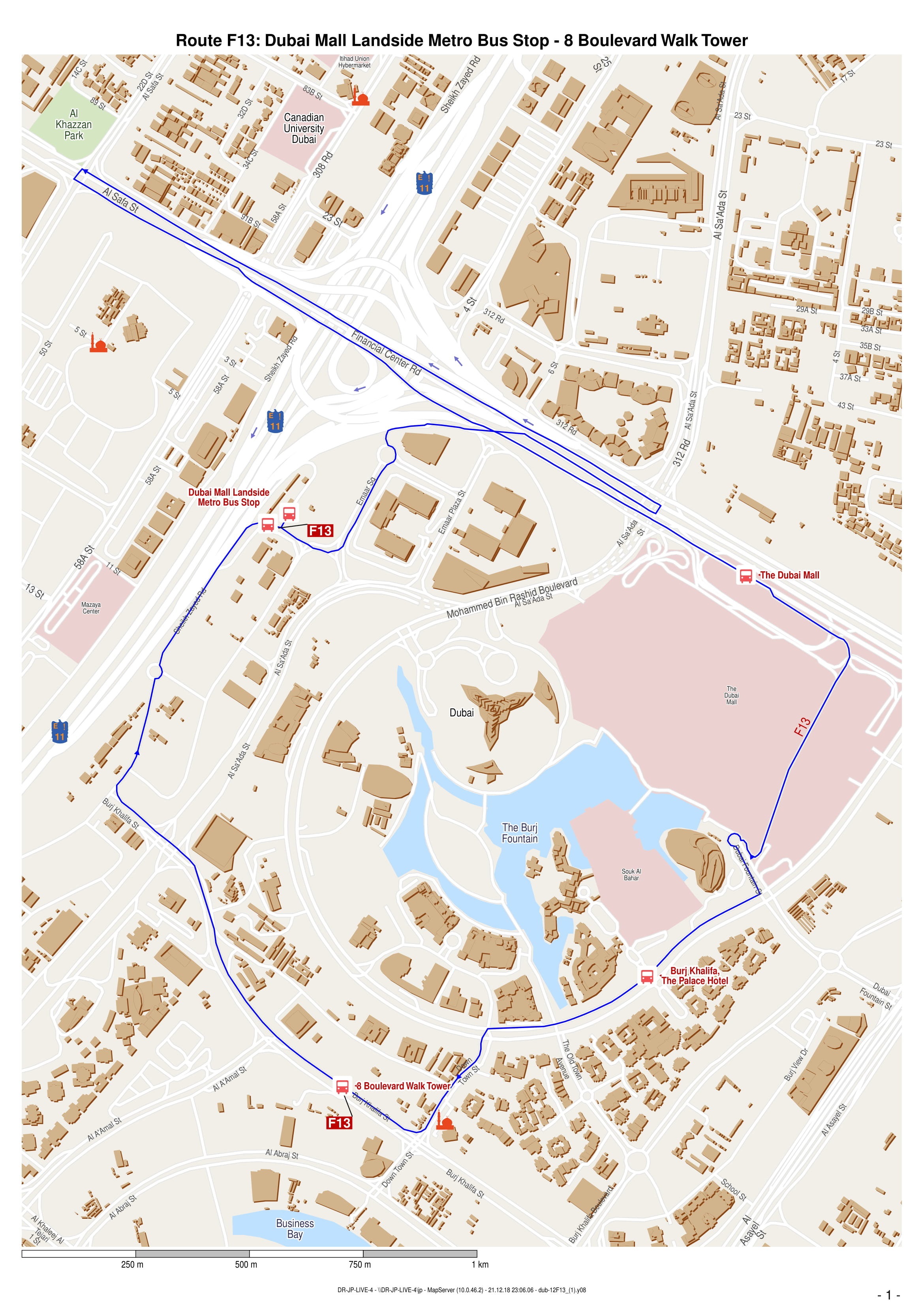 F13 Bus Route In Dubai Time Schedule Stops And Maps