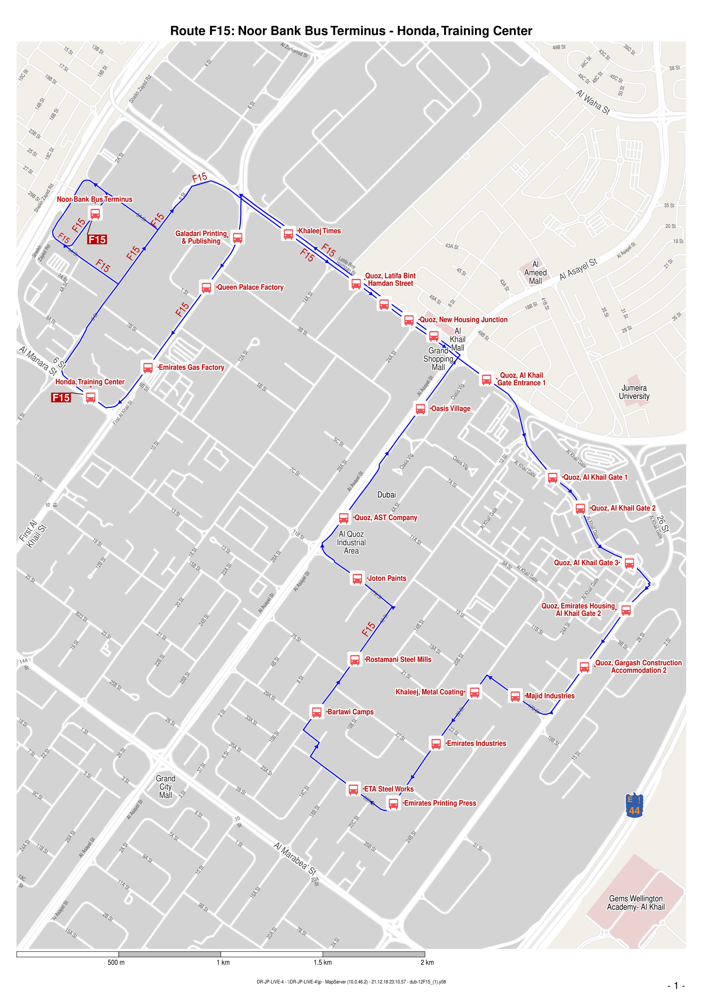 F15 Bus Route In Dubai Time Schedule Stops And Maps