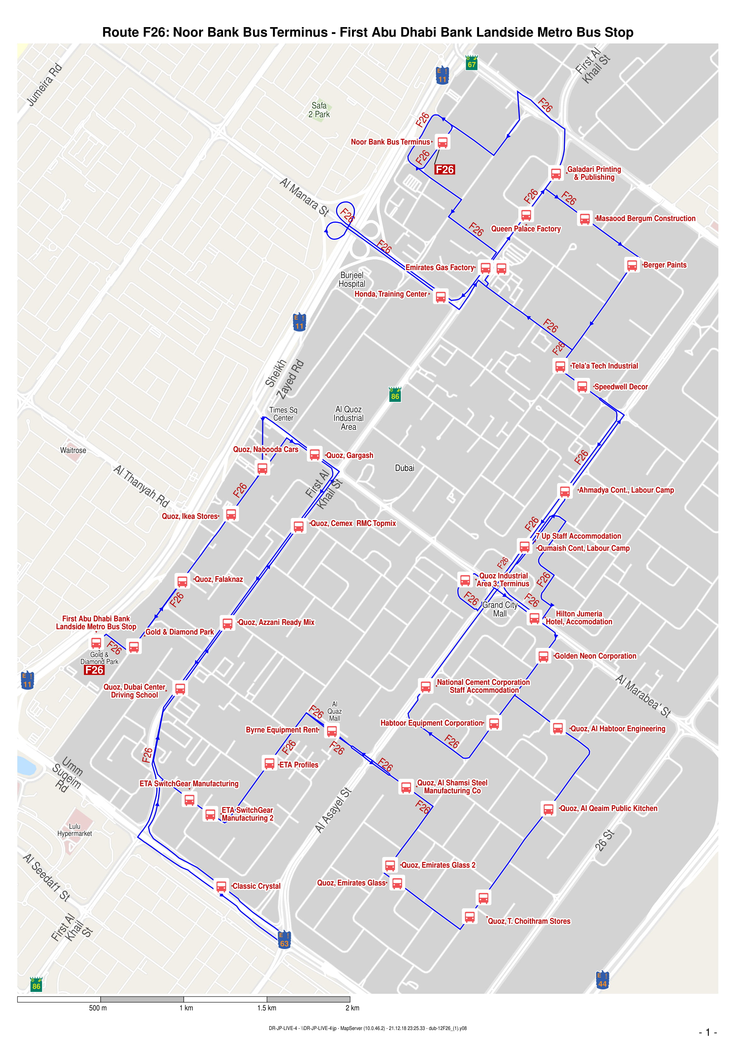 F26 Bus Route In Dubai Time Schedule Stops And Maps