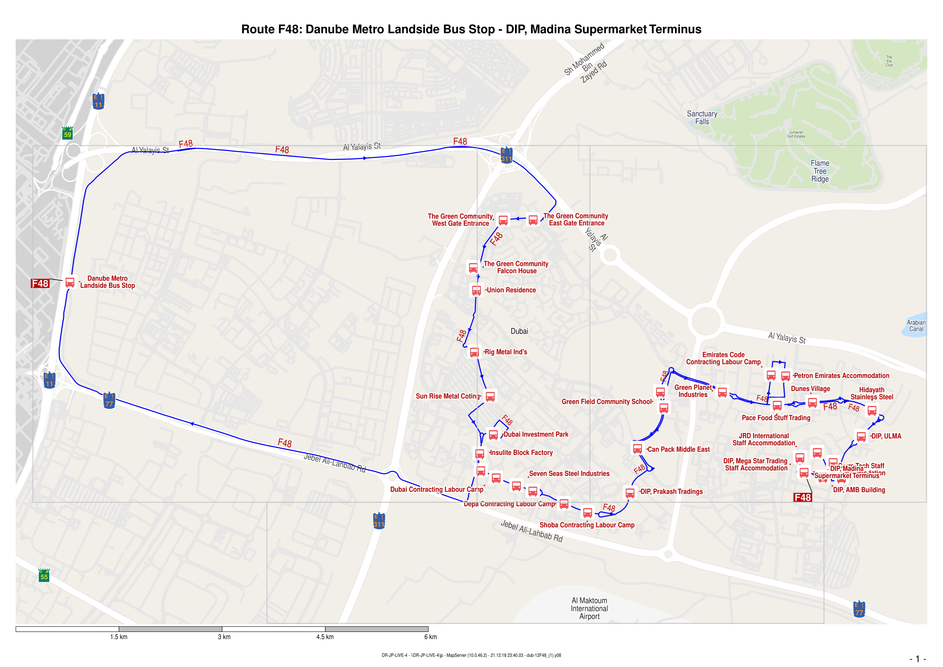 F48 Bus Route in Dubai - Time Schedule, Stops and Maps
