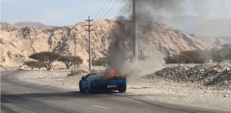 VIDEO: Lamborghini catches fire in Ras Al Khaimah near Dubai