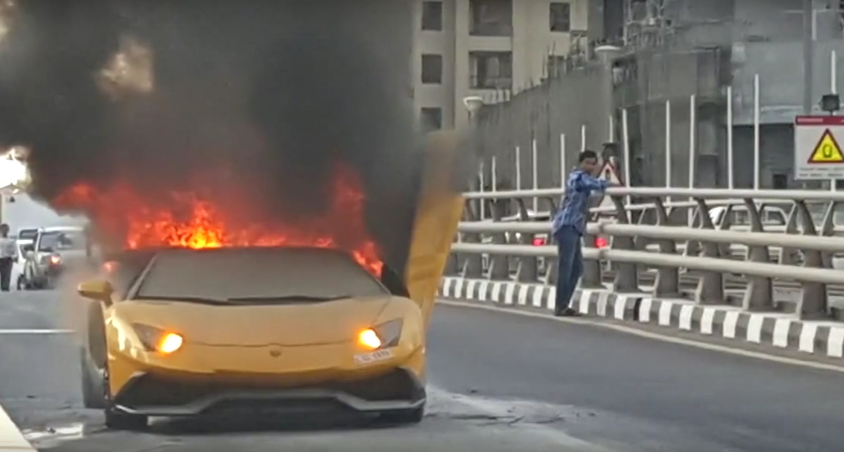 VIDEO: Revved Lamborghini Aventador Roadster fire  catches fire in Dubai Marina
