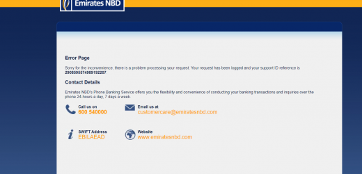 Emirates NBD (ENBD) Website, Online Banking and Mobile apps are down