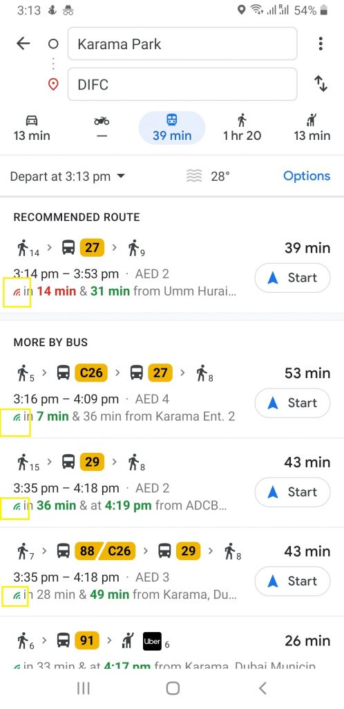 Dubai Bus routes Live updates on Google Maps