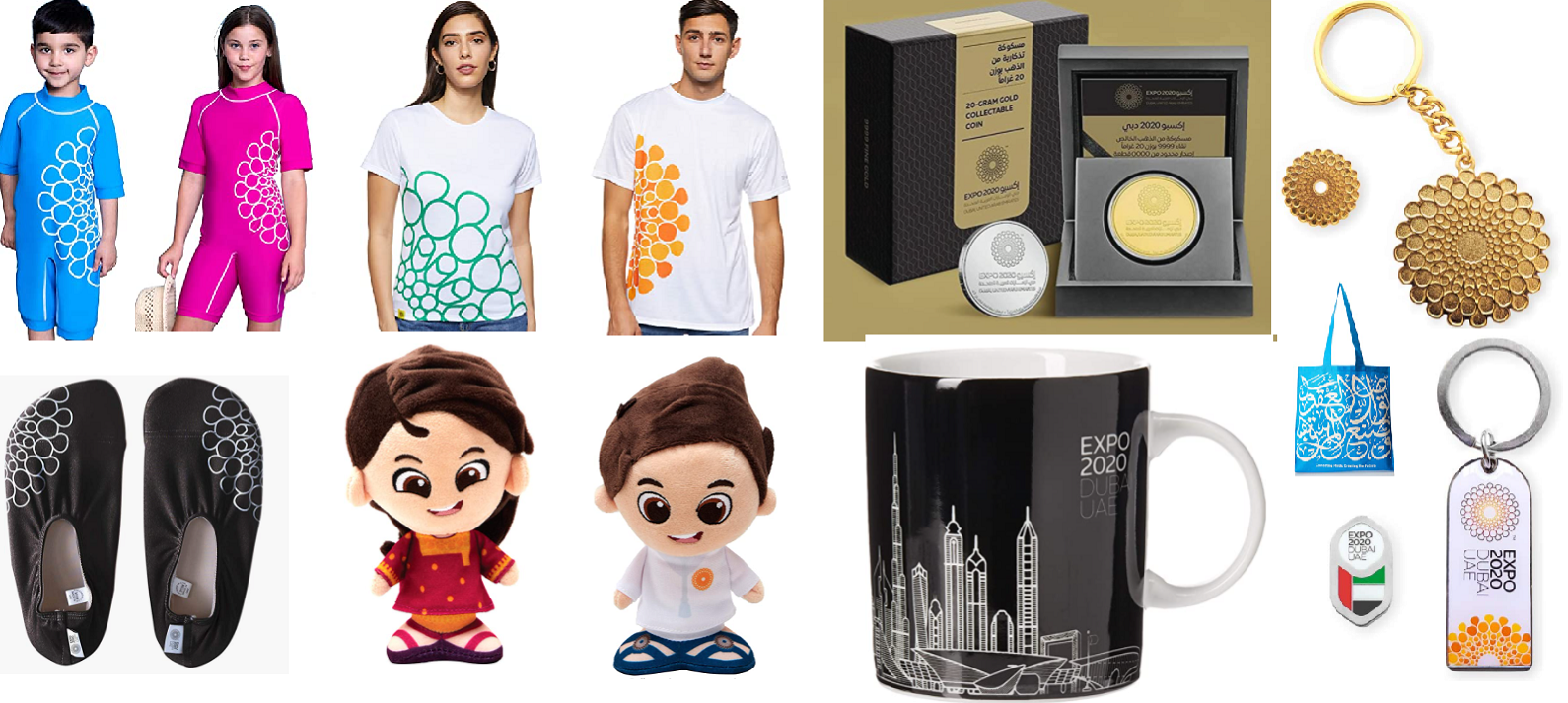 EXPO 2020 tshirts-shoes-mascots-keychain-bag-cup