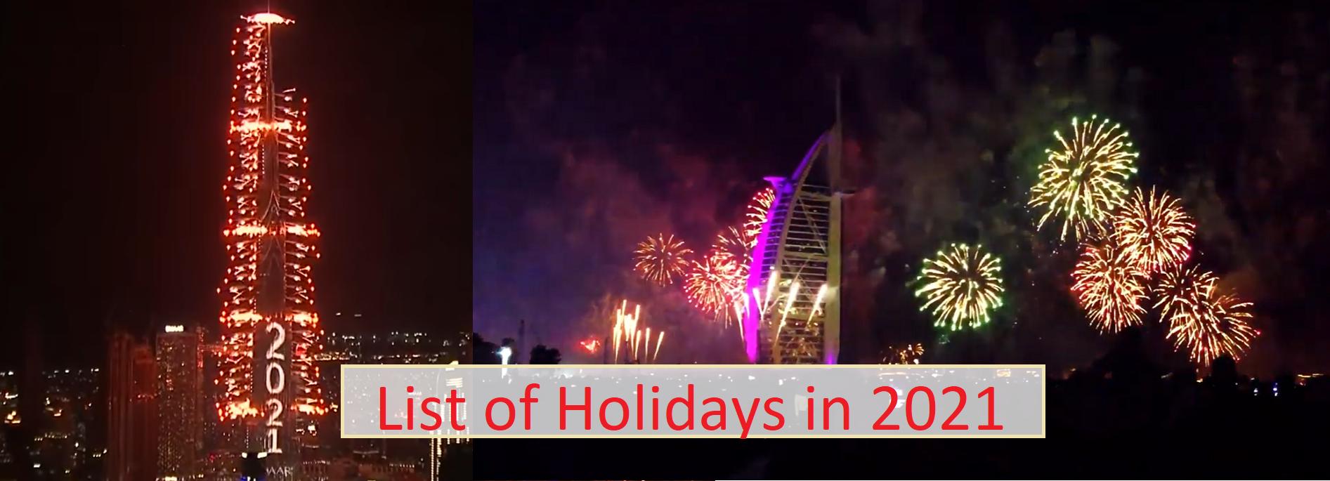 Dubai Public & Private Holidays 2021 & 2022