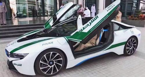 BMW i8 Dubai Police Car doors open