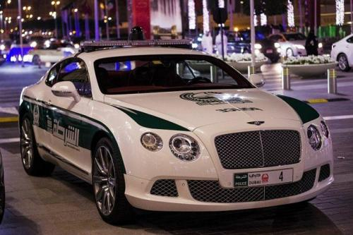 Dubai Police Bentley Continental GT on road