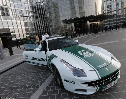 Dubai Police Cars - Ferrari in front of Burj Khalifa