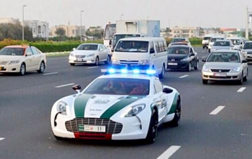 Dubai Police cars - Aston Martin One-77 on the road
