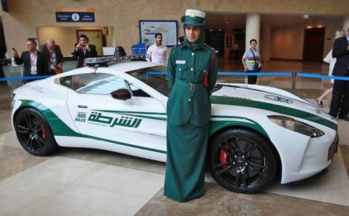 Dubai Police cars - Aston Martin One-77 with lady police
