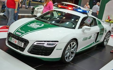 audi r8 dubai police car lights